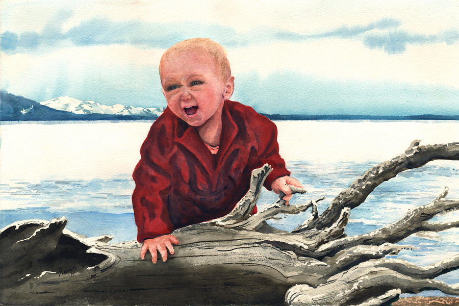 Sam And The Log Painting  - Sam And The Log Fine Art Print