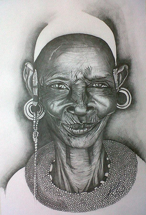 Samburu Tribe I. Drawing  - Samburu Tribe I. Fine Art Print