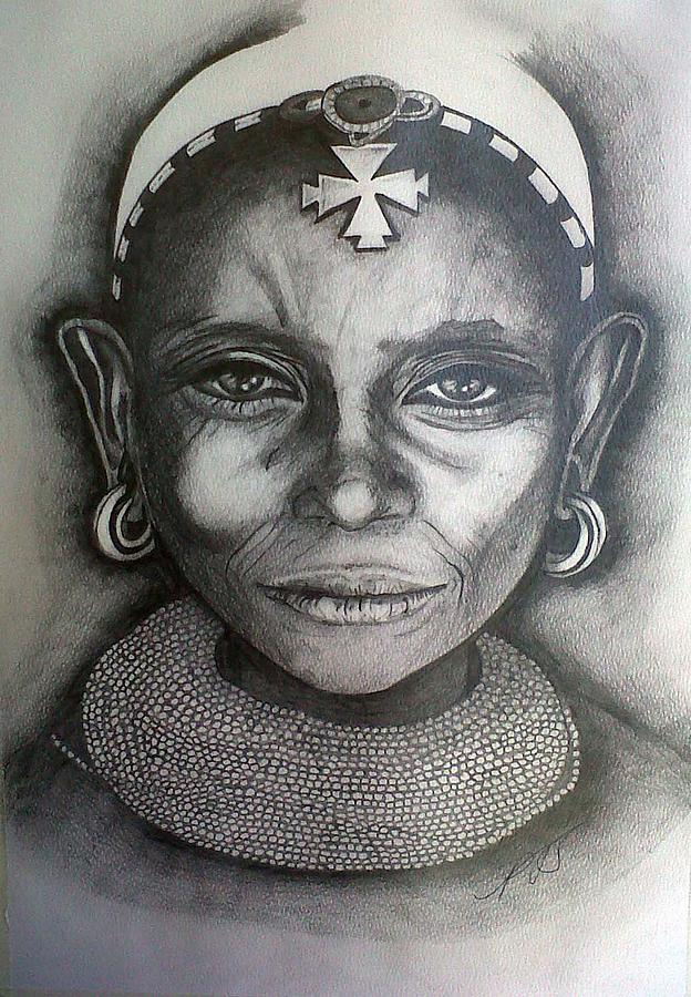 Samburu Tribe II. Drawing  - Samburu Tribe II. Fine Art Print