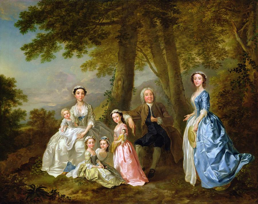 Samuel Richardson Seated With His Family Painting  - Samuel Richardson Seated With His Family Fine Art Print