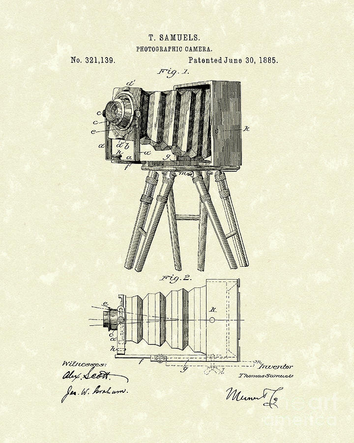 Samuels Photographic Camera 1885 Patent Art Drawing  - Samuels Photographic Camera 1885 Patent Art Fine Art Print