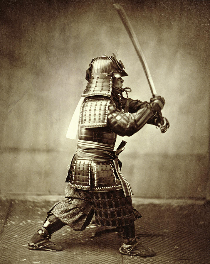 Samurai With Raised Sword Photograph