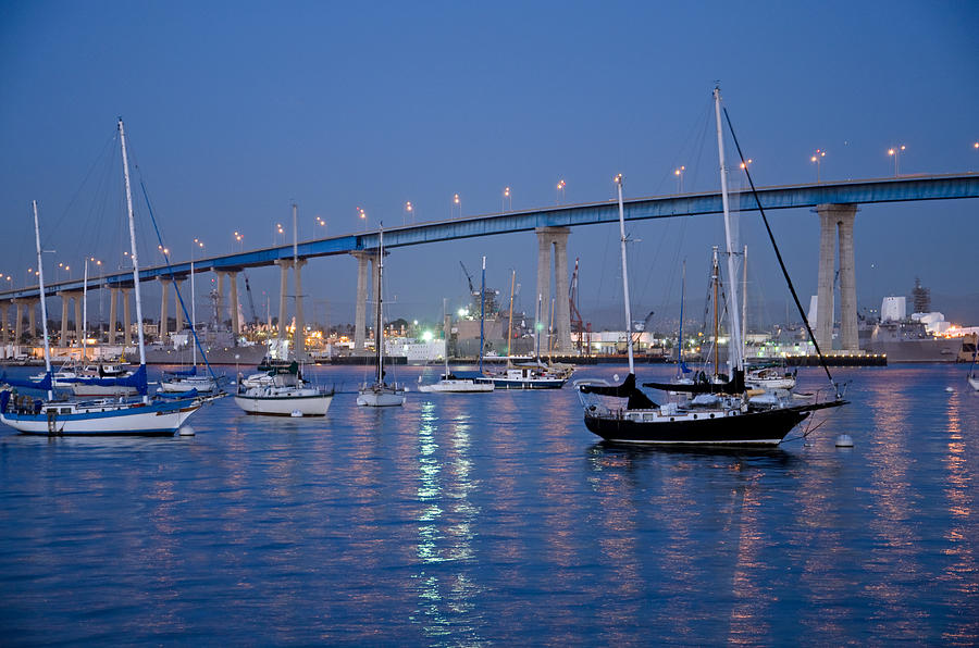 San Diego Bay At Nightfall Photograph  - San Diego Bay At Nightfall Fine Art Print