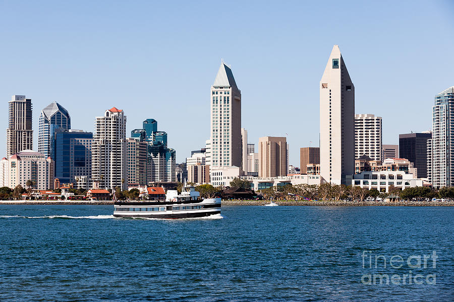 San Diego Skyline And Tour Boat Photograph  - San Diego Skyline And Tour Boat Fine Art Print