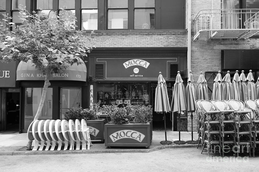 San Francisco - Maiden Lane - Mocca Cafe - 5d17788 - Black And White Photograph  - San Francisco - Maiden Lane - Mocca Cafe - 5d17788 - Black And White Fine Art Print