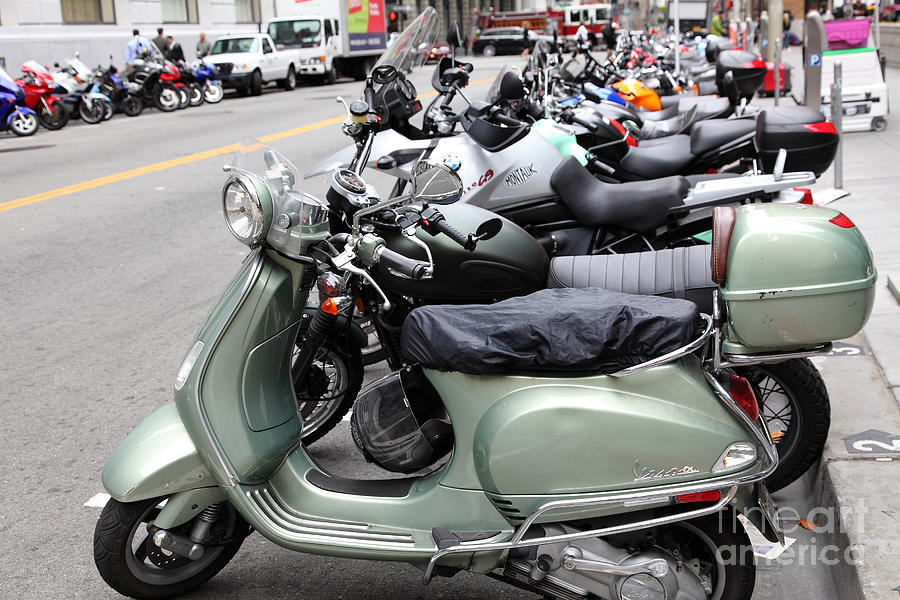 San Francisco - Scooters And Motorcycles Along Sansome Street - 5d17654 Photograph  - San Francisco - Scooters And Motorcycles Along Sansome Street - 5d17654 Fine Art Print