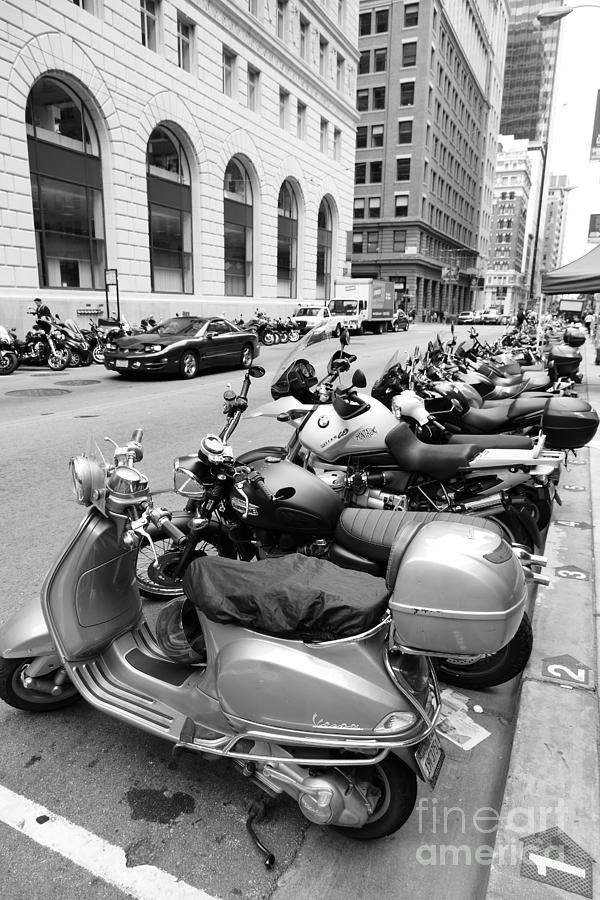 San Francisco - Scooters And Motorcycles Along Sansome Street - 5d17657 - Black And White Photograph