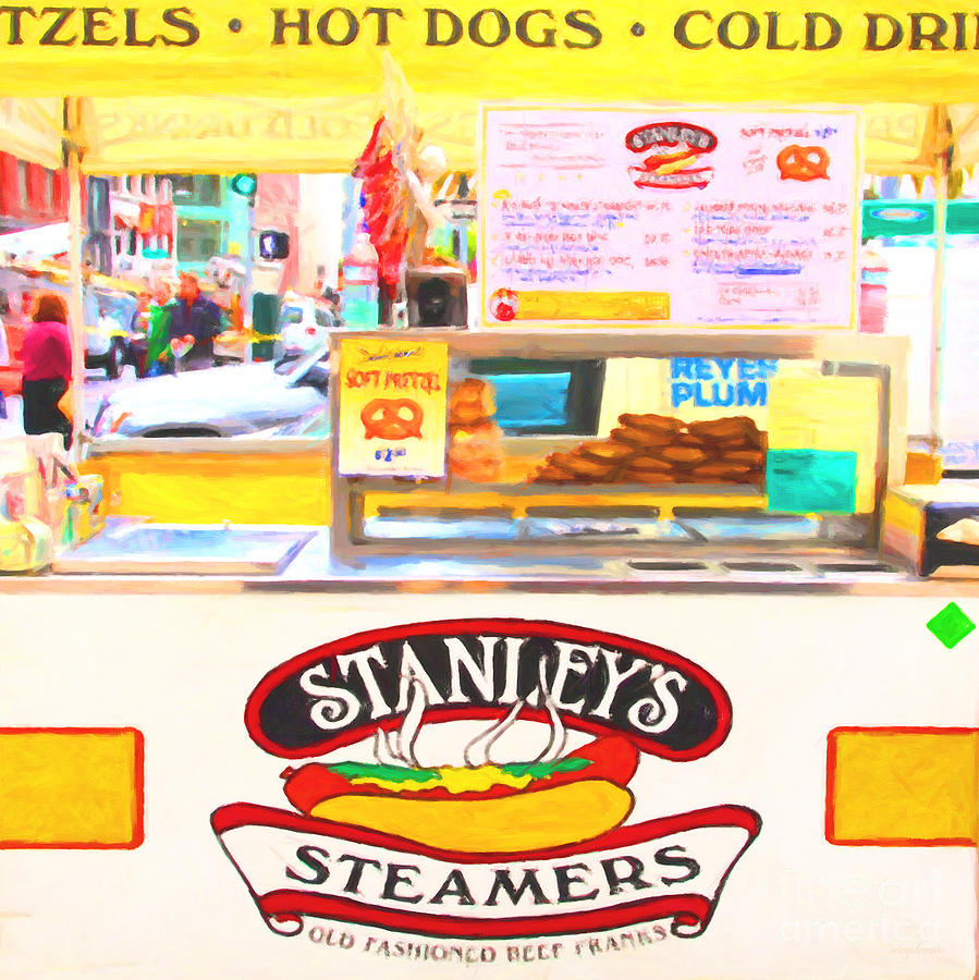 San Francisco - Stanleys Steamers Hot Dog Stand - 5d17929 - Square - Painterly Photograph  - San Francisco - Stanleys Steamers Hot Dog Stand - 5d17929 - Square - Painterly Fine Art Print