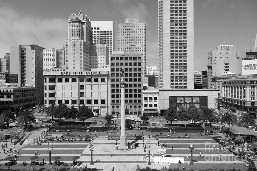 San Francisco - Union Square - 5d17938 - Black And White Photograph  - San Francisco - Union Square - 5d17938 - Black And White Fine Art Print