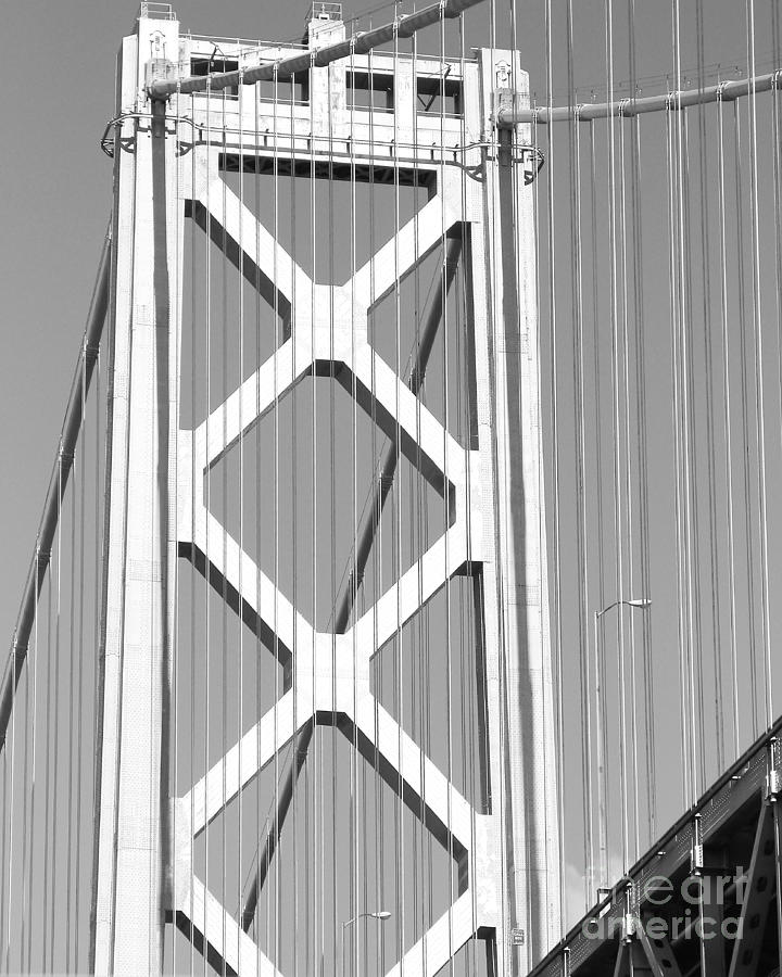 San Francisco Bay Bridge At The Embarcadero . Black And White Photograph . 7d7760 Photograph