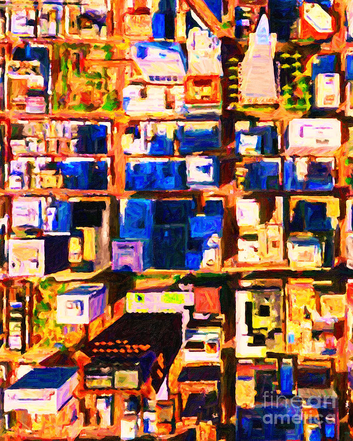 San Francisco Birdseye Abstract . Painterly Photograph