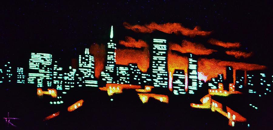 San Francisco Skyline Painting - San Francisco Black Light by Thomas Kolendra