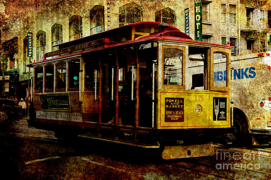 San Francisco Cable Car . Texture Photograph  - San Francisco Cable Car . Texture Fine Art Print
