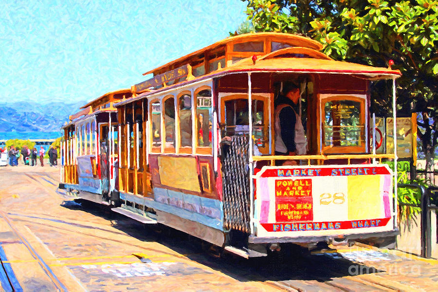 San Francisco Cablecar At Fishermans Wharf . 7d14097 Photograph  - San Francisco Cablecar At Fishermans Wharf . 7d14097 Fine Art Print