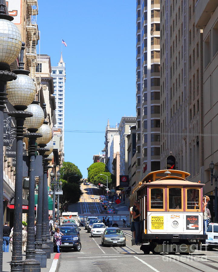 San Francisco Cablecar On Powell Street Photograph  - San Francisco Cablecar On Powell Street Fine Art Print