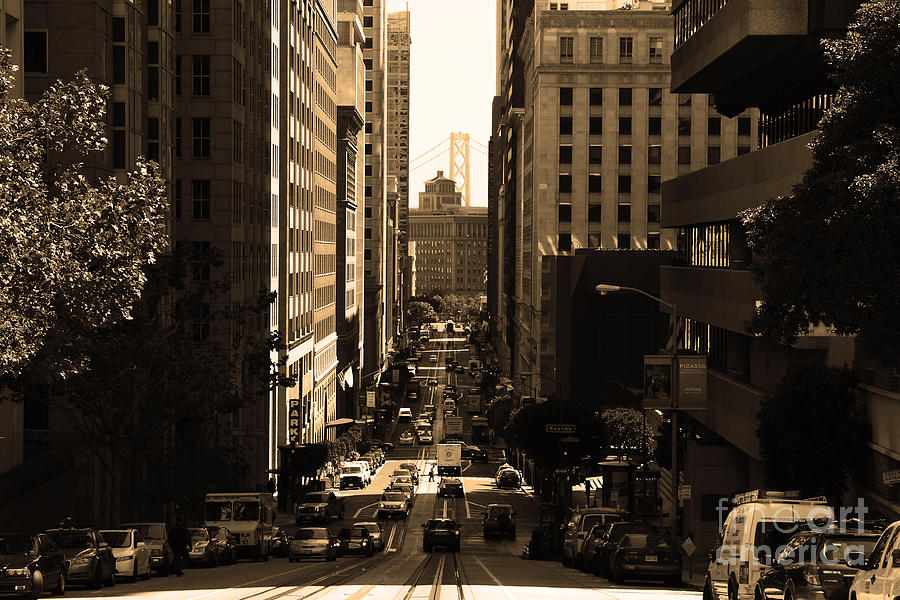 San Francisco California Street . Sepia . 7d7186 Photograph