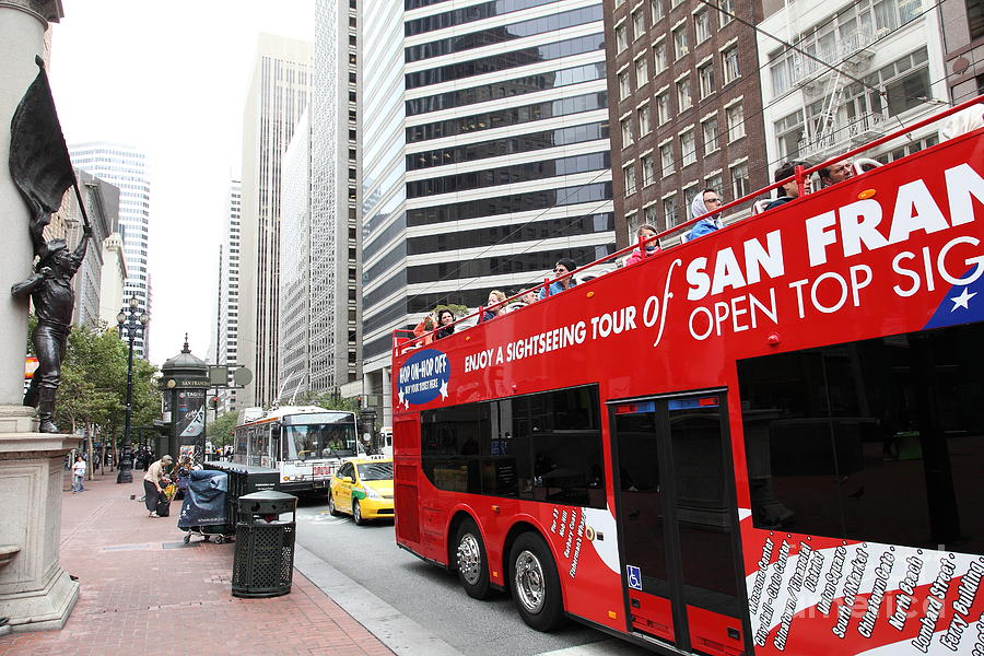San Francisco Double Decker Tour Bus On Market Street - 5d17844 Photograph