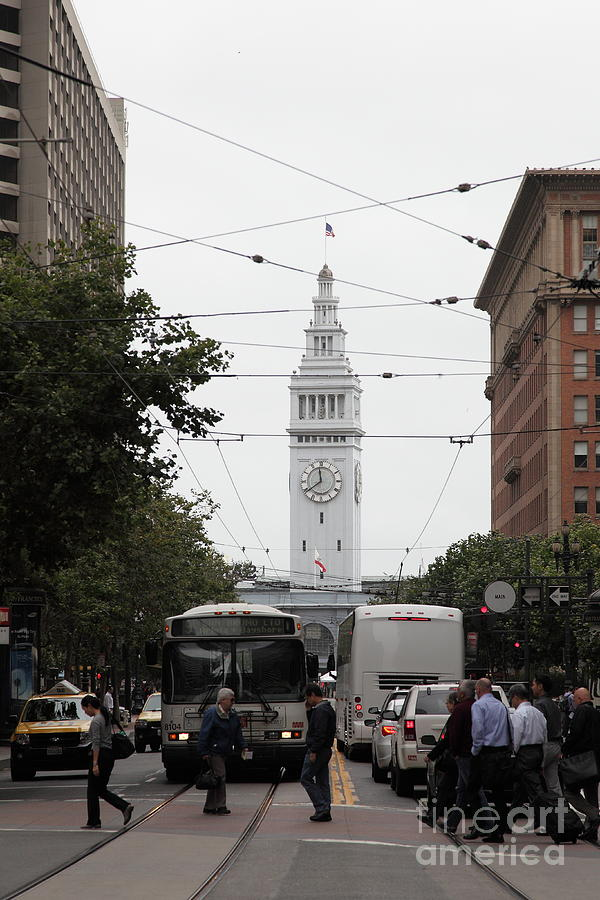 San Francisco Ferry Building At End Of Market Street - 5d17863 Photograph  - San Francisco Ferry Building At End Of Market Street - 5d17863 Fine Art Print