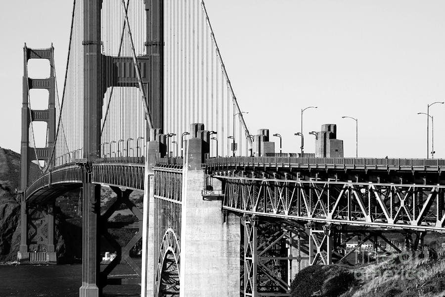 San Francisco Golden Gate Bridge . Black And White Photograph . 7d8166 Photograph