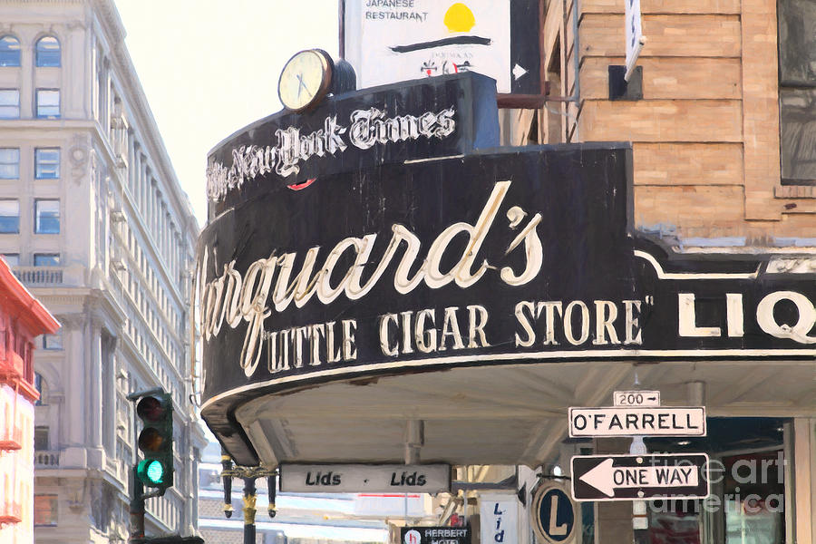 San Francisco Marquards Little Cigar Store On Powell And Ofarrell Streets - 5d17954 - Painterly Photograph  - San Francisco Marquards Little Cigar Store On Powell And Ofarrell Streets - 5d17954 - Painterly Fine Art Print