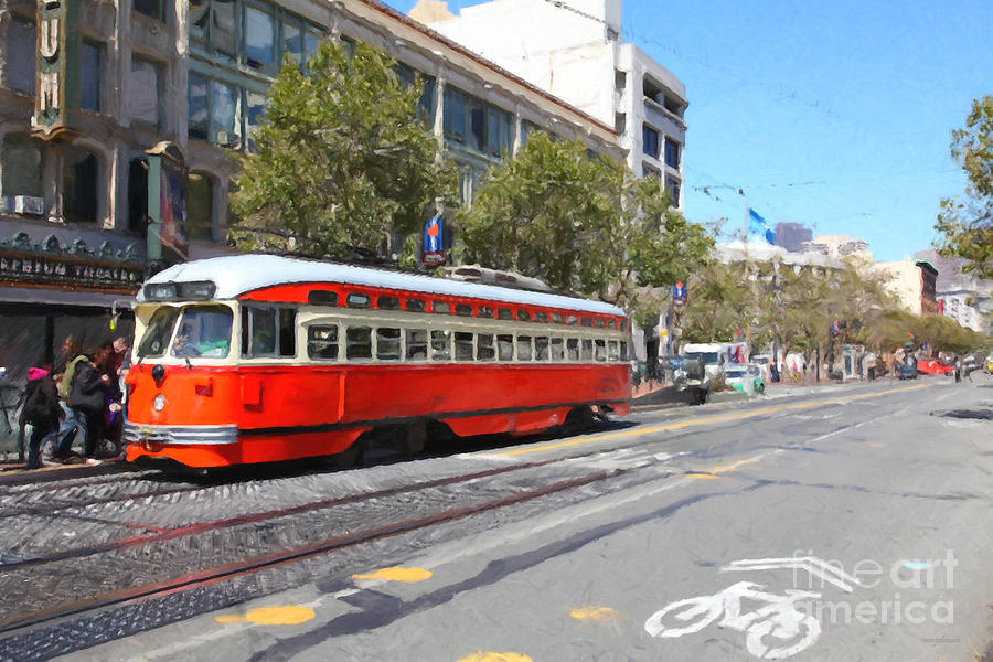 San Francisco Streetcar At The Orpheum Theatre - 5d17998 - Painterly Photograph  - San Francisco Streetcar At The Orpheum Theatre - 5d17998 - Painterly Fine Art Print