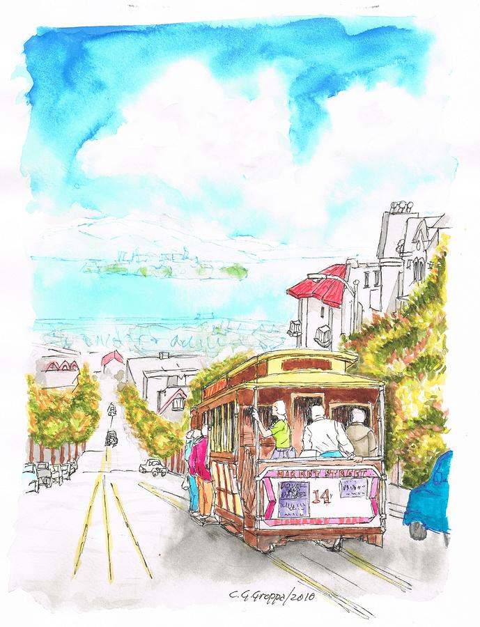 San-francisco-trolley-california Painting  - San-francisco-trolley-california Fine Art Print