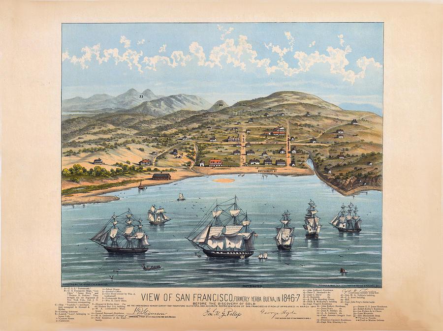 Panoramic Map Digital Art - San Fransisco 1846 by Donna Leach