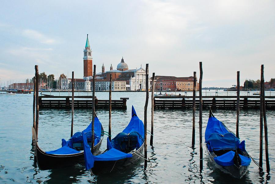 San Giorgio Maggiore And Gondolas Photograph
