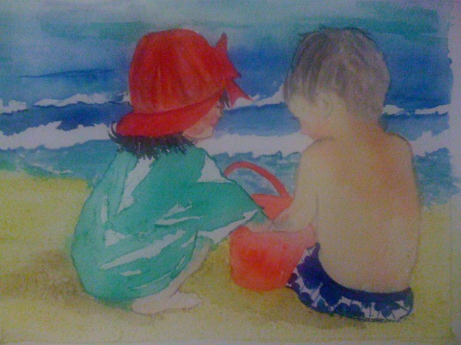 Boy Painting - Sand Play by Judi Goodwin