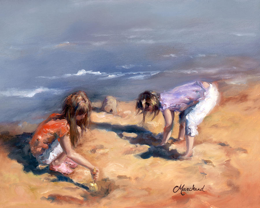 Children Painting - Sandcastles by Catherine Marchand