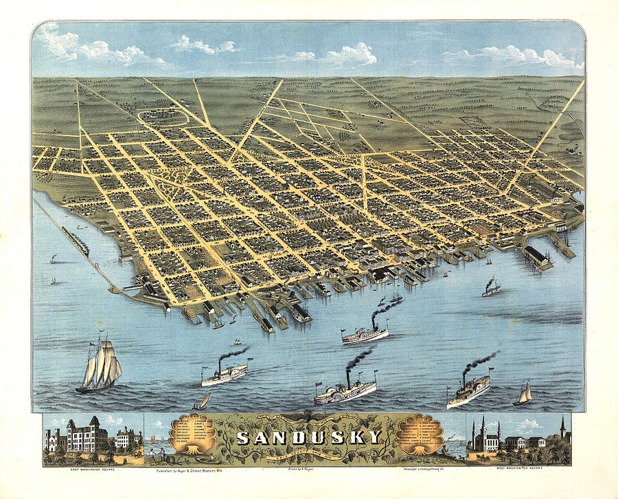 Sandusky Ohio 1870 Digital Art  - Sandusky Ohio 1870 Fine Art Print