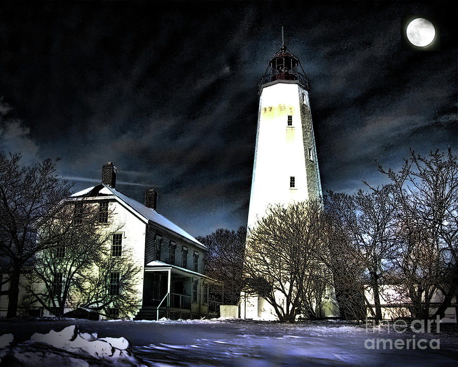 Sandy Hook On A Winter Night Photograph  - Sandy Hook On A Winter Night Fine Art Print