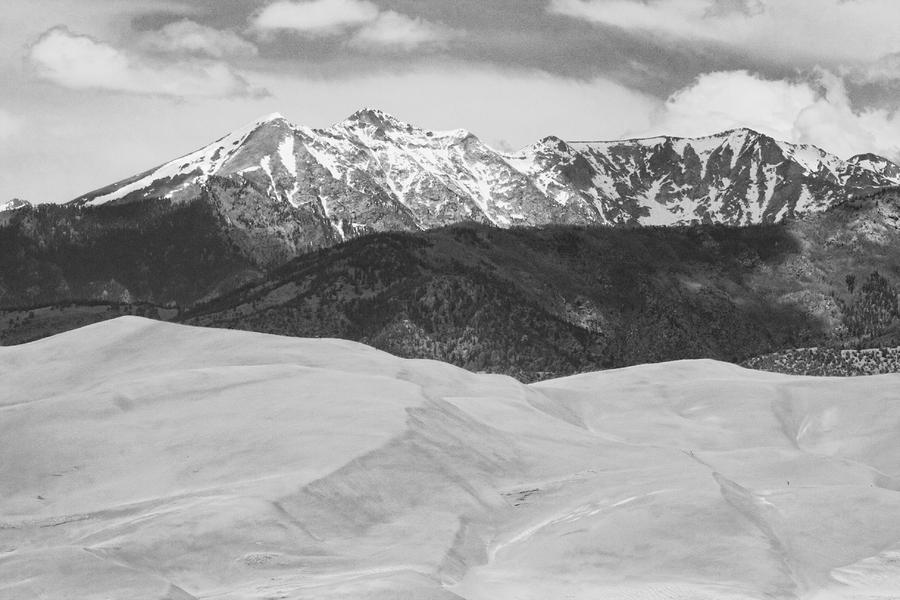 Sangre De Cristo Mountains And The Great Sand Dunes Bw Photograph  - Sangre De Cristo Mountains And The Great Sand Dunes Bw Fine Art Print