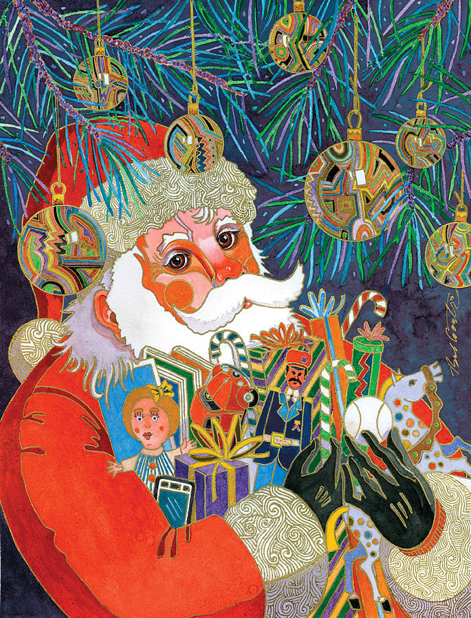 Santa And Gifts Painting  - Santa And Gifts Fine Art Print