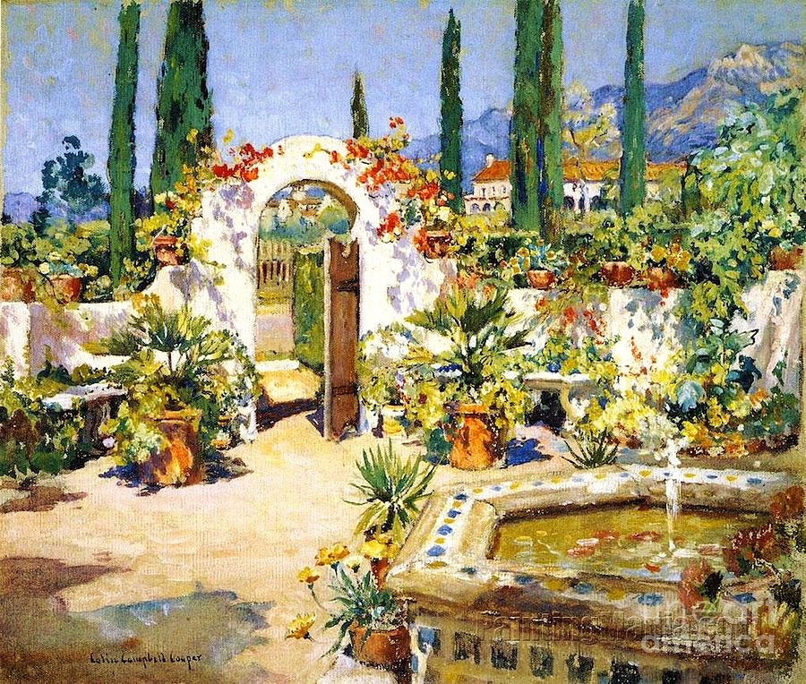 Santa Barbara Courtyard Painting  - Santa Barbara Courtyard Fine Art Print