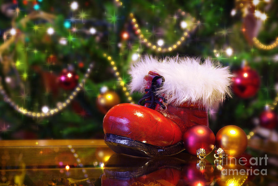 Santa-claus Boot Photograph  - Santa-claus Boot Fine Art Print