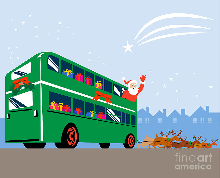 Santa Claus Double Decker Bus Digital Art