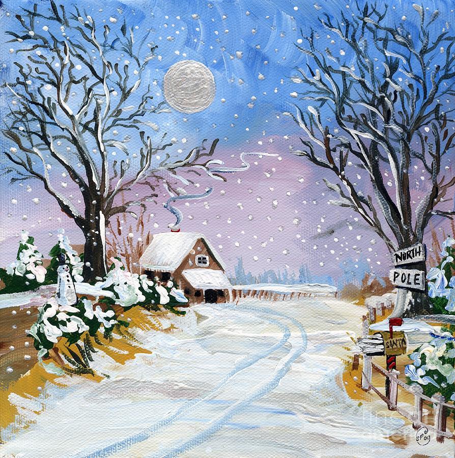 Santa Claus North Pole Painting