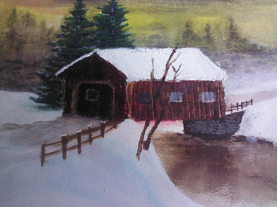 Santa Clause Sleigh Route Covered Bridge 1 Painting  - Santa Clause Sleigh Route Covered Bridge 1 Fine Art Print
