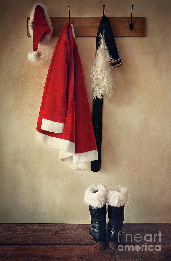 Santa Costume With Boots On Coathook Photograph  - Santa Costume With Boots On Coathook Fine Art Print