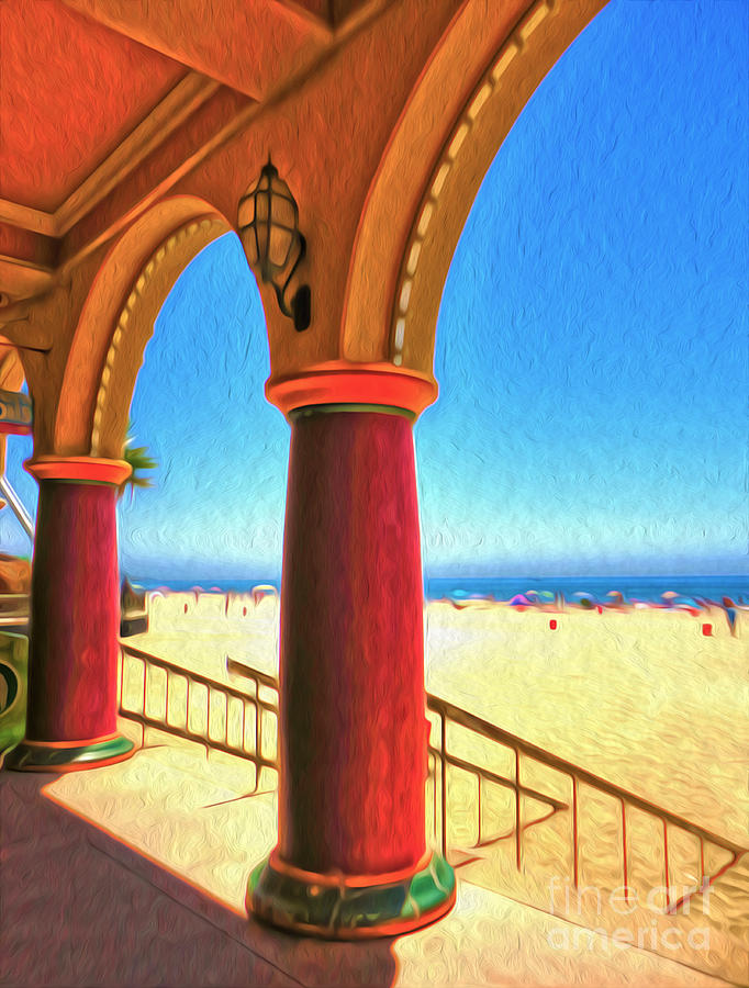 Santa Cruz Boardwalk - Beach Painting  - Santa Cruz Boardwalk - Beach Fine Art Print