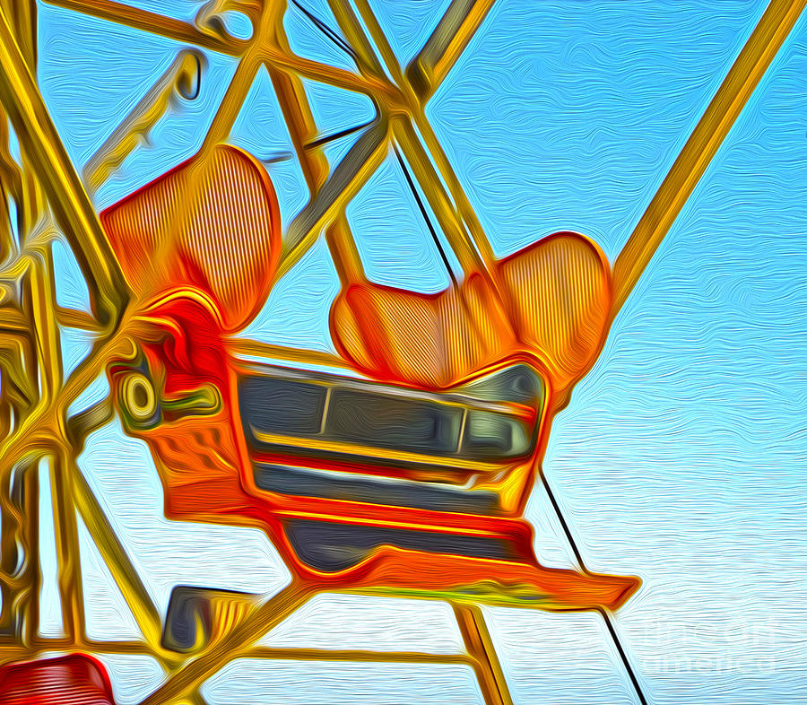 Santa Cruz Boardwalk - Ferris Wheel - 02 Painting  - Santa Cruz Boardwalk - Ferris Wheel - 02 Fine Art Print