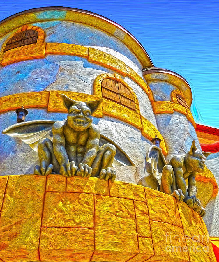 Santa Cruz Boardwalk - Gargoyles - 02 Painting  - Santa Cruz Boardwalk - Gargoyles - 02 Fine Art Print