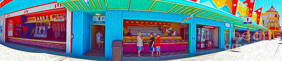 Santa Cruz Boardwalk - Panorama - 02 Painting  - Santa Cruz Boardwalk - Panorama - 02 Fine Art Print