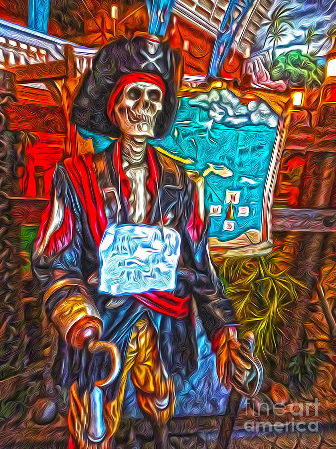 Santa Cruz Boardwalk - Pirate Of The Arcade Painting  - Santa Cruz Boardwalk - Pirate Of The Arcade Fine Art Print