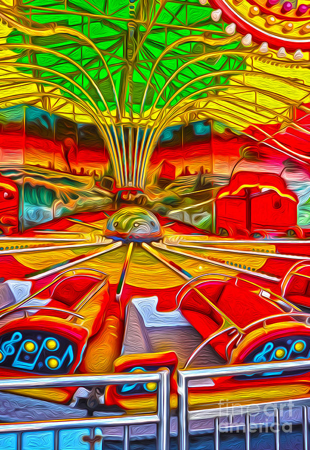 Santa Cruz Boardwalk - That Ride That Makes You Sick Painting  - Santa Cruz Boardwalk - That Ride That Makes You Sick Fine Art Print