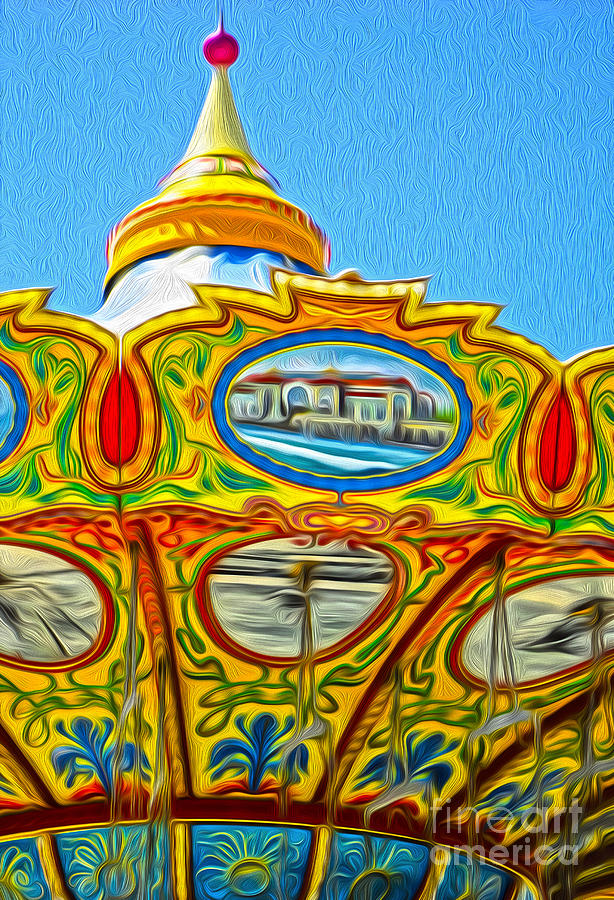 Santa Cruz Boardwalk - Tilt-a-whirl - 03 Painting  - Santa Cruz Boardwalk - Tilt-a-whirl - 03 Fine Art Print