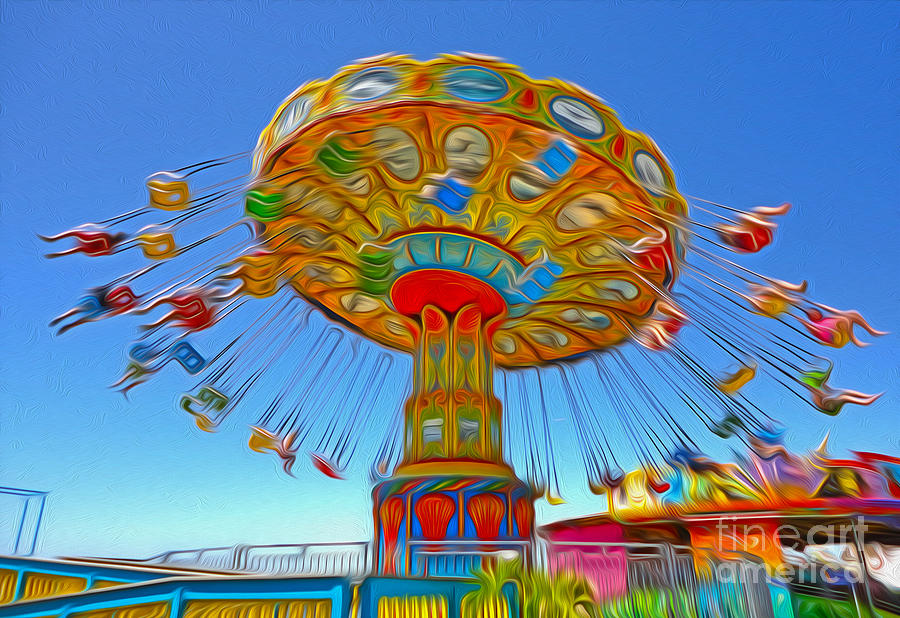 Santa Cruz Boardwalk - Tilt-a-whirl - 04a Painting