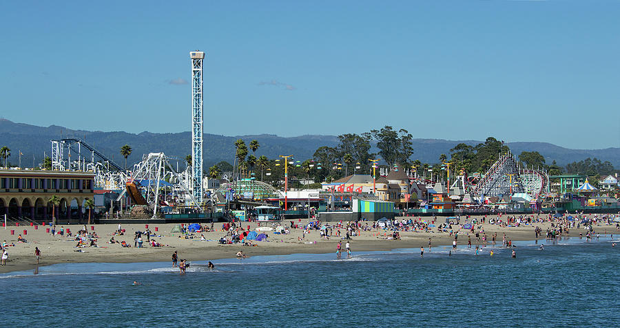 Santa Cruz Boardwalk And Beach - California Photograph  - Santa Cruz Boardwalk And Beach - California Fine Art Print