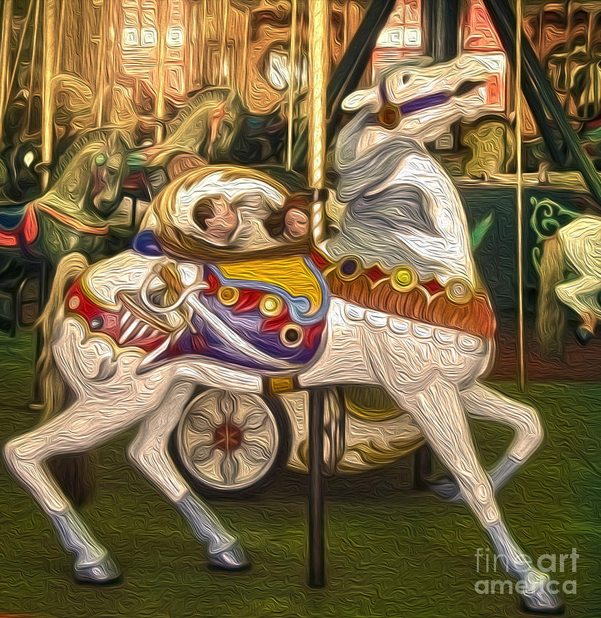 Santa Cruz Boardwalk Carousel Horse - 02 Painting  - Santa Cruz Boardwalk Carousel Horse - 02 Fine Art Print